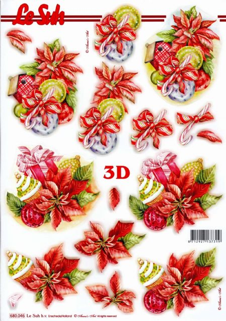 Christmas Baubles & Cup Cake Die Cut 3d Decoupage Sheet - NO CUTTING